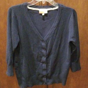 Fervour Navy Blue Cardigan Large 3/4 Sleeves
